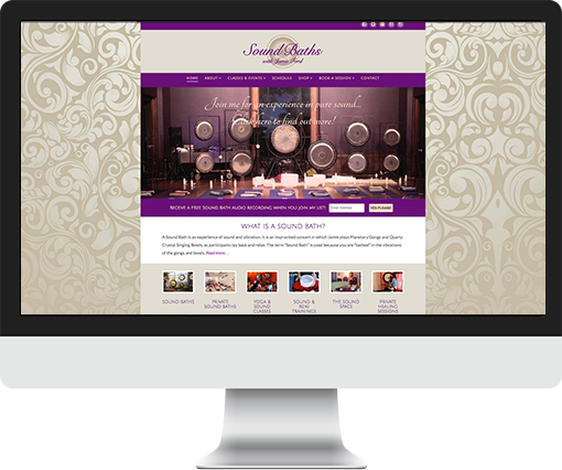 Wordpress site for Sound Baths with Jamie Ford
